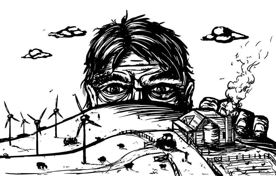 Penyertaan Peraduan #27 untuk Illustrate a giant peaking over a hill