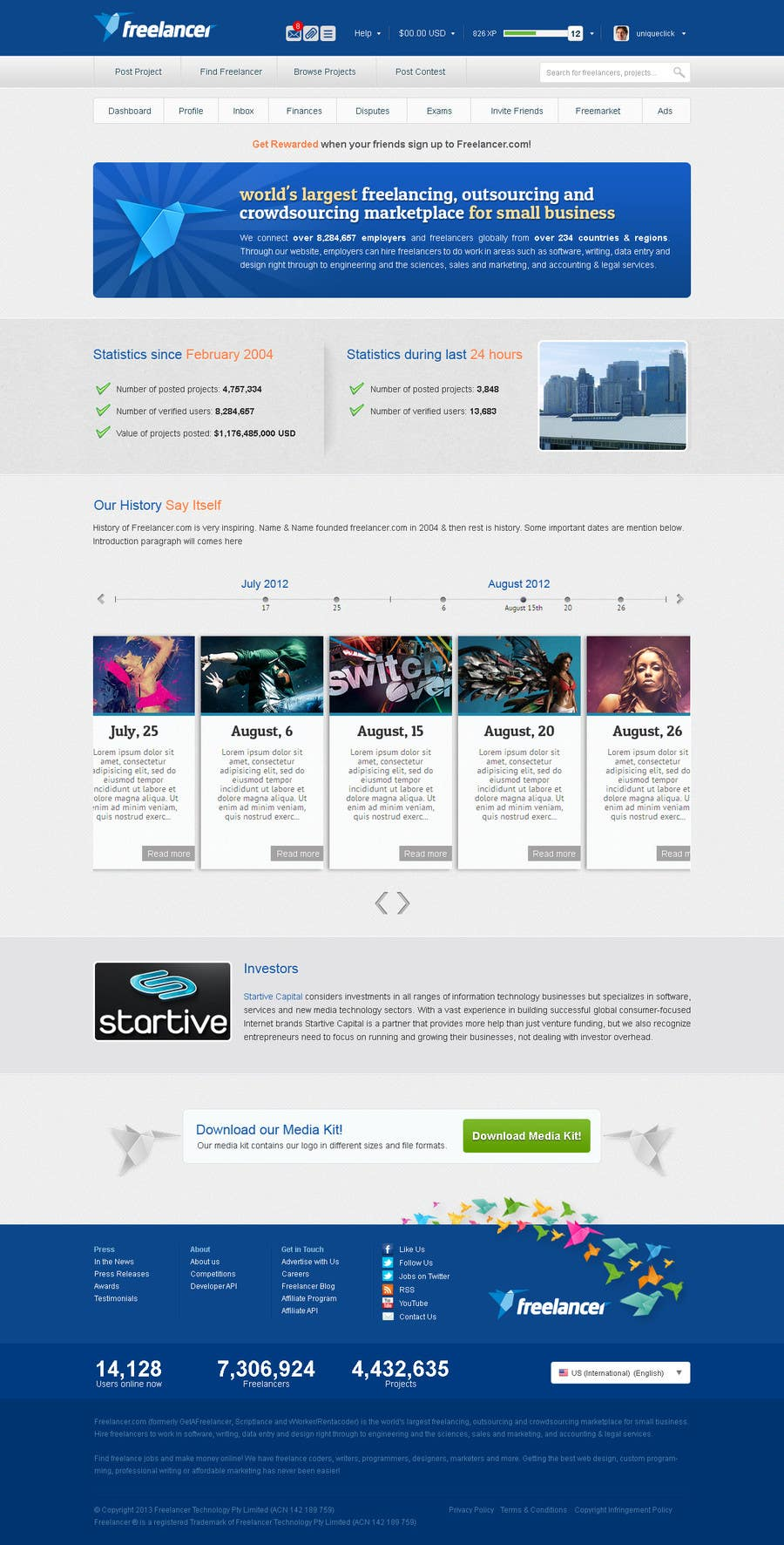 Bài tham dự cuộc thi #                                        4                                      cho                                         Create a Website Mockup for the Freelancer.com About Us Page