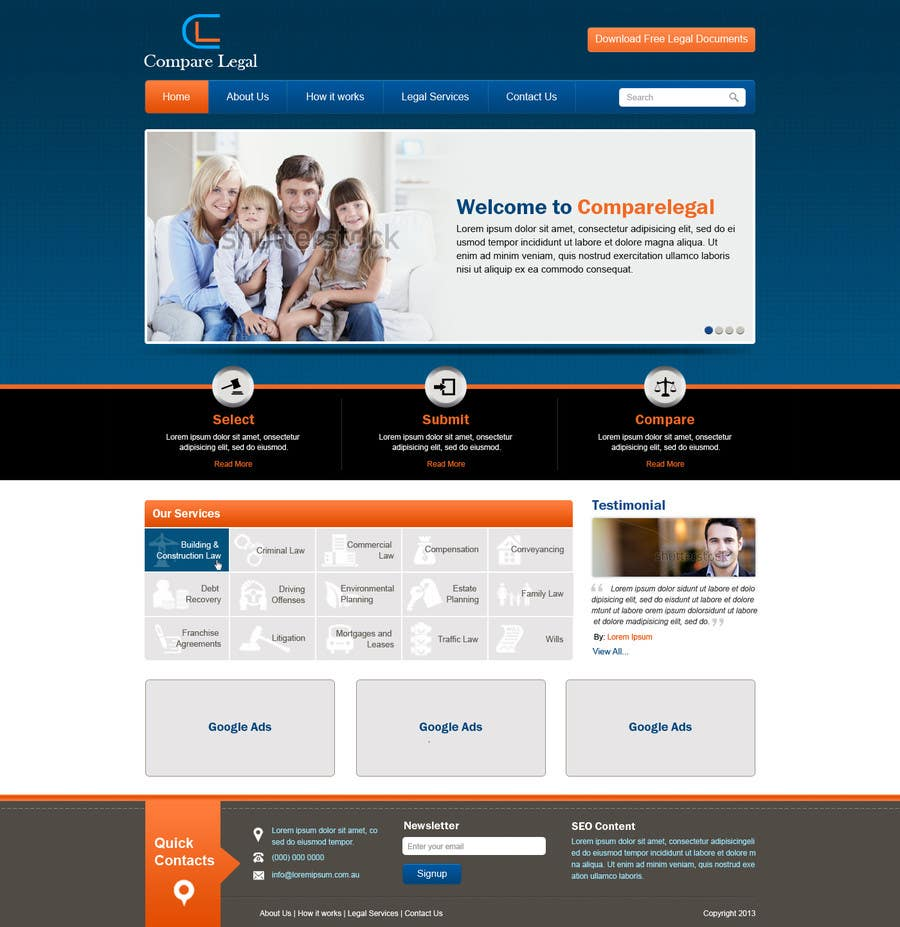 #7 for Home page design plus logo - legal site by nitinatom