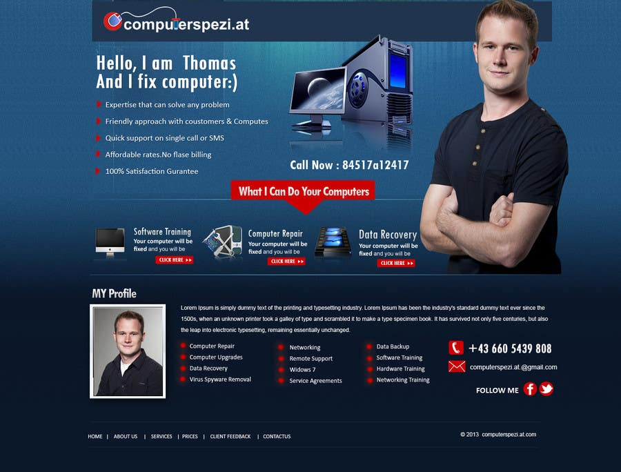 #34 for Design a single Page Website with Logo for a PC repair service by MagicalDesigner
