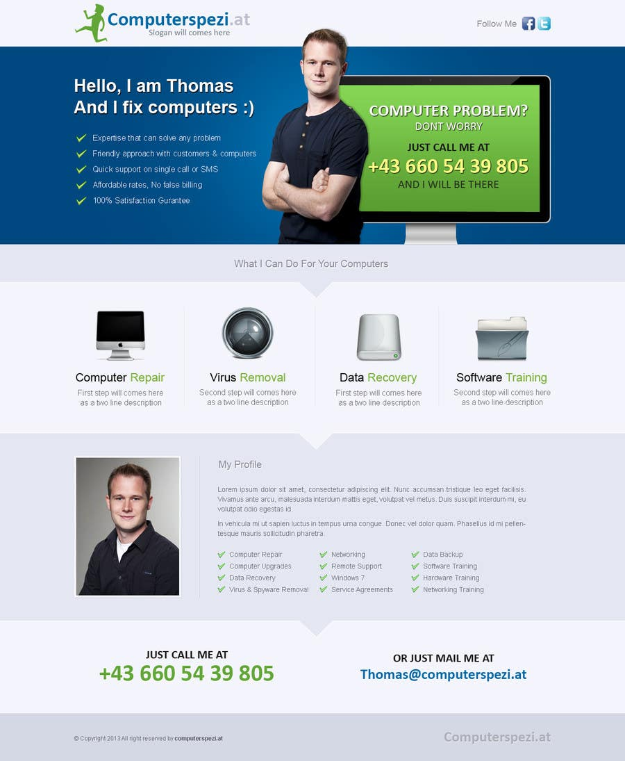 #13 for Design a single Page Website with Logo for a PC repair service by uniqueclick
