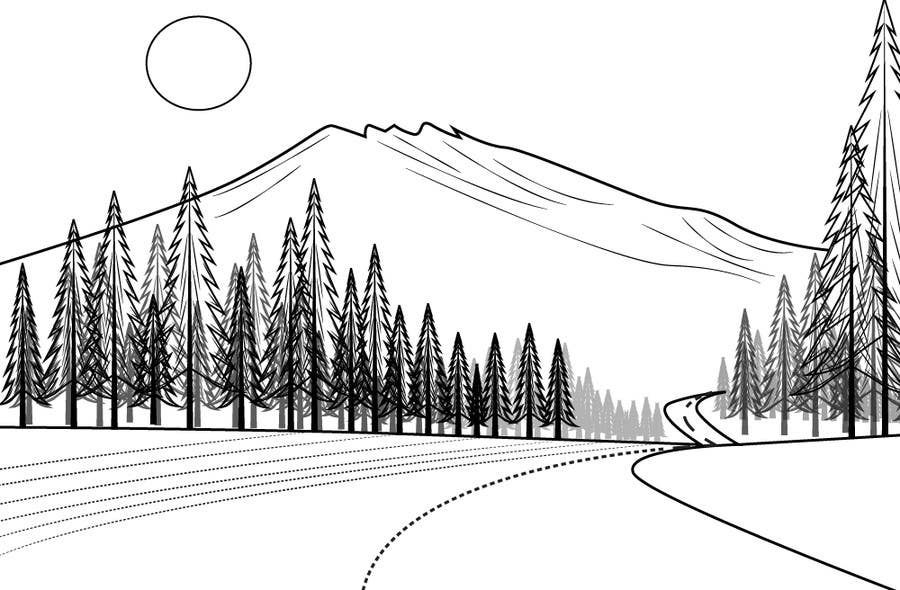 Line Art Mountain : Illustrate a very simple line drawing of mountain