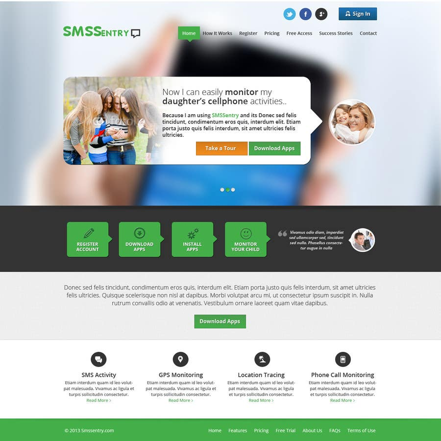 #79 for Design a Website Mockup for SMSSentry.com by Pavithranmm