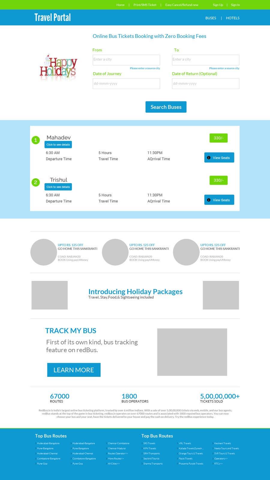 Kilpailutyö #1 kilpailussa Create a website design for a travel portal