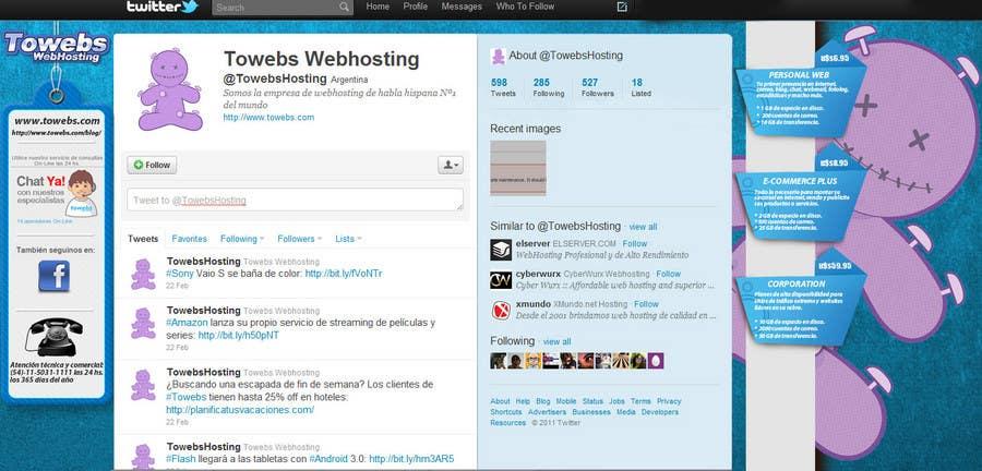 Kilpailutyö #                                        7                                      kilpailussa                                         Twitter Background for towebs.com