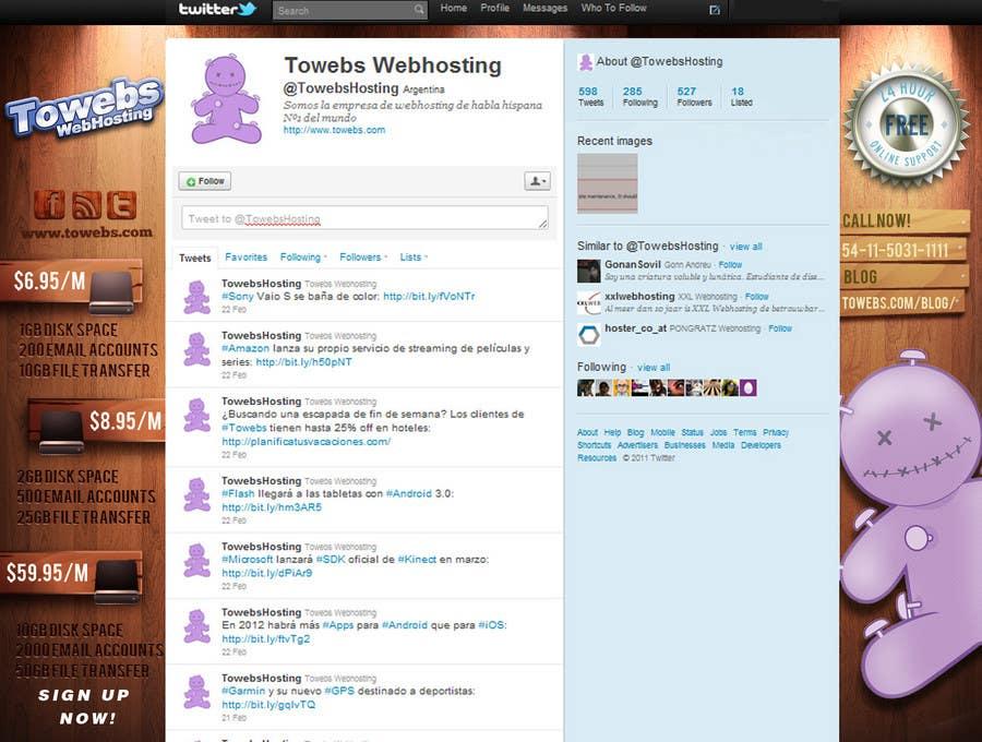 Kilpailutyö #                                        29                                      kilpailussa                                         Twitter Background for towebs.com