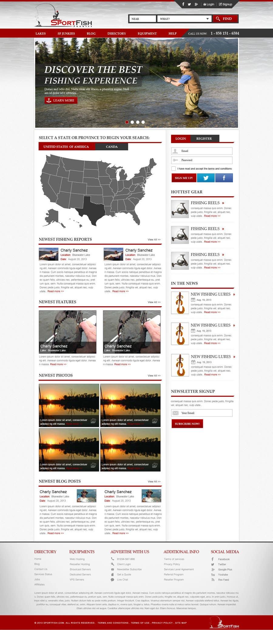 Kilpailutyö #29 kilpailussa Design a Website Mockup for Sport Fish Junkies