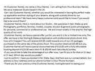 Marketing Inscrição do Concurso Nº2 para Write a Cold/Warm telemarketing script for a Makeover Studio - repost