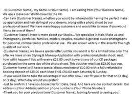 #2 untuk Write a Cold/Warm telemarketing script for a Makeover Studio - repost oleh freelancetutor