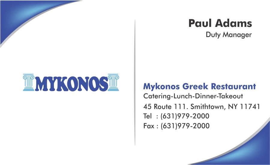 #3 for Design some Business Cards for Mykonos Greek Restaurant by vcvidath