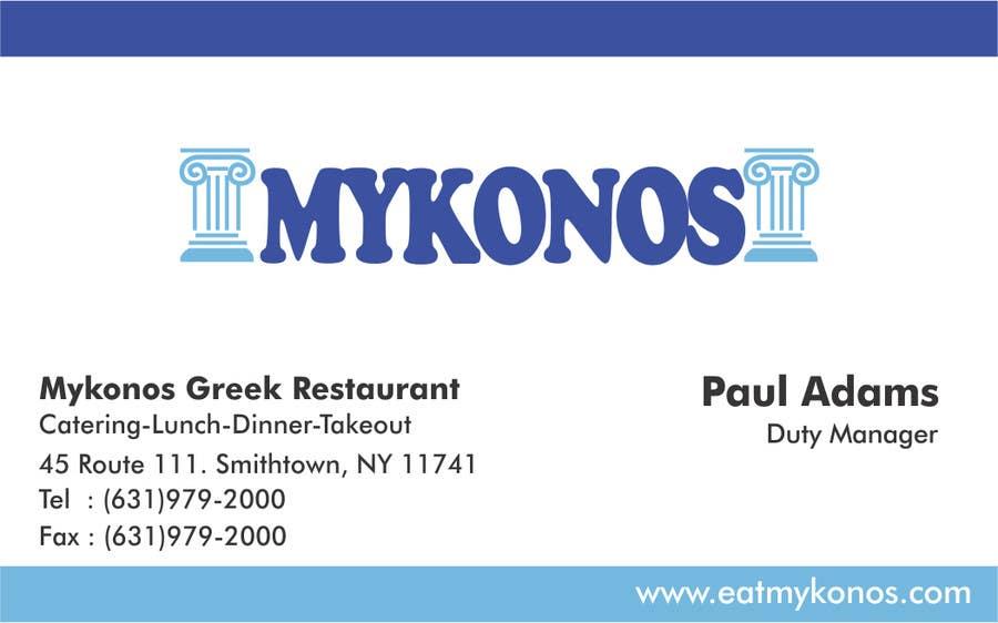 #5 for Design some Business Cards for Mykonos Greek Restaurant by vcvidath