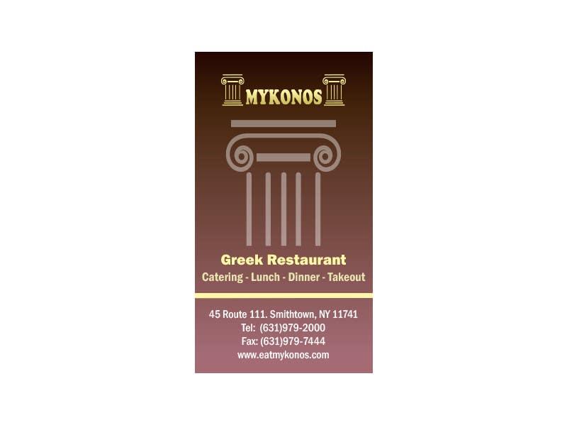 #23 for Design some Business Cards for Mykonos Greek Restaurant by vw7993624vw