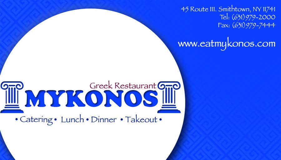 #43 for Design some Business Cards for Mykonos Greek Restaurant by manyaaa