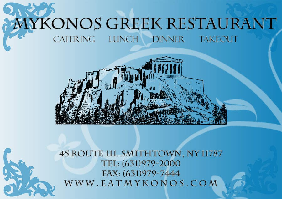 Inscrição nº 46 do Concurso para Design some Business Cards for Mykonos Greek Restaurant