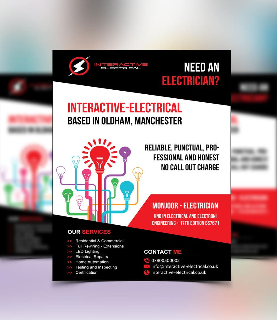 96 Electrical Services Business Card Business Cards