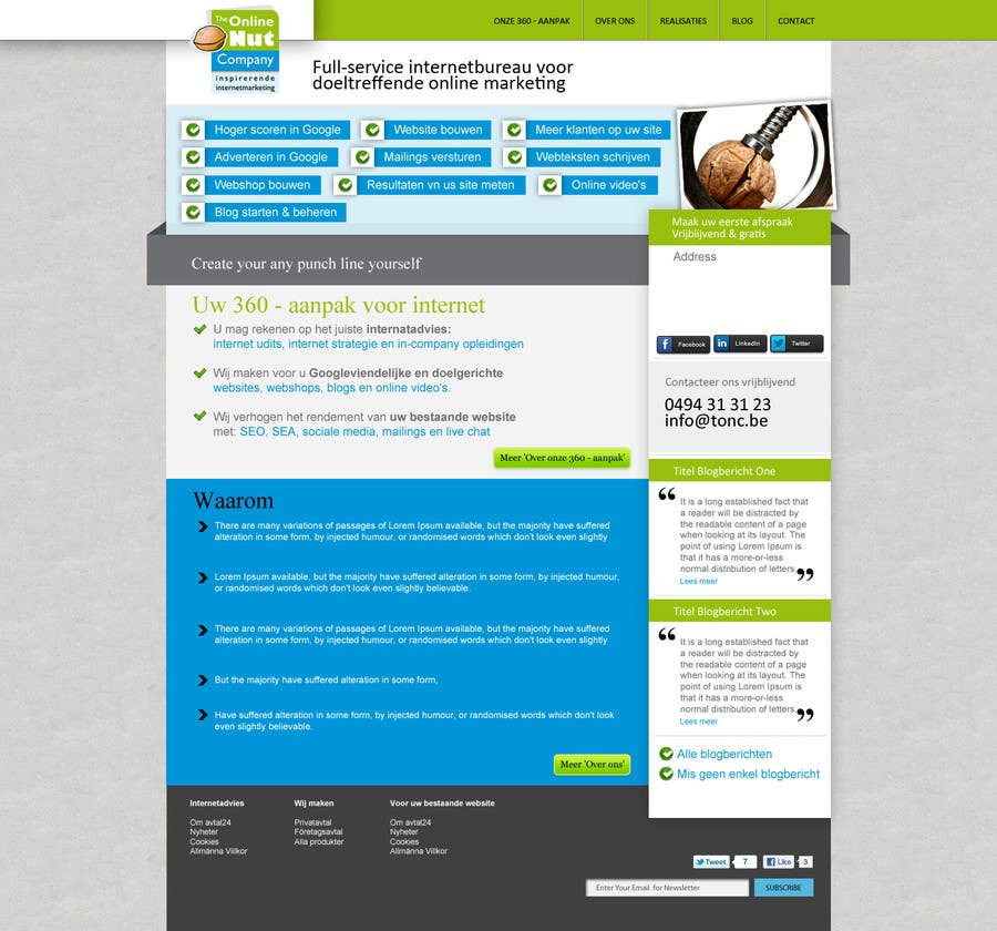 #18 for Design a website frontpage mockup (Wordpress) by ANALYSTEYE