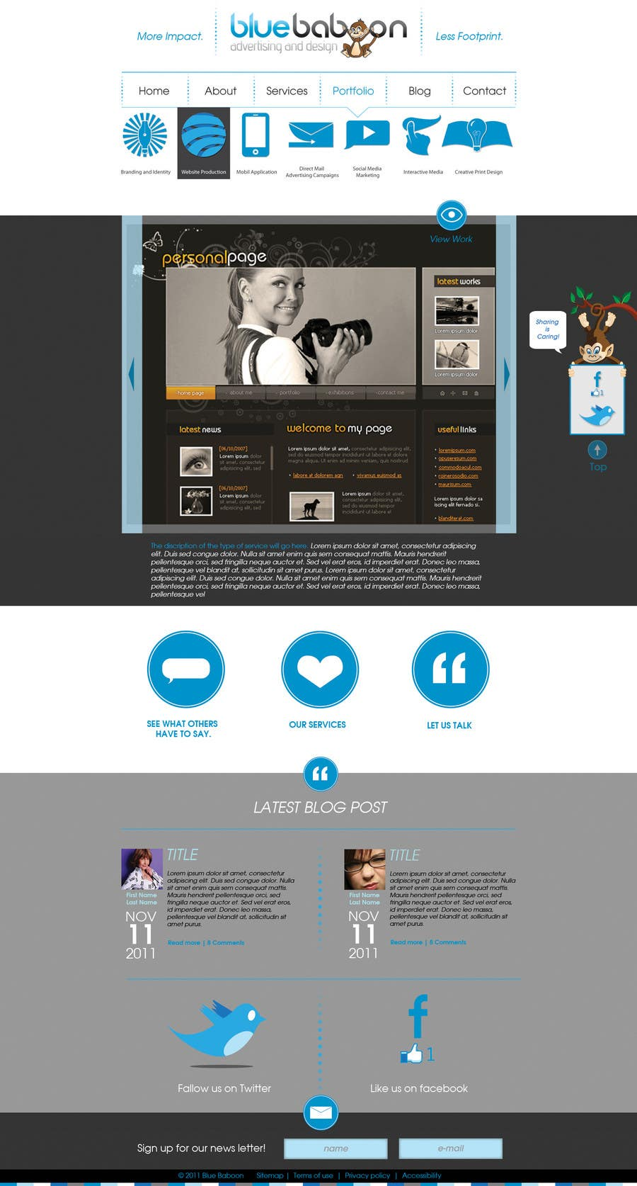 Inscrição nº                                         35                                      do Concurso para                                         Wordpress Theme Design for Blue Baboon Advertising