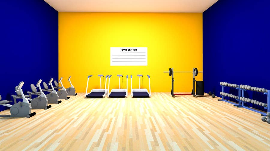 Design a gym green screen background freelancer