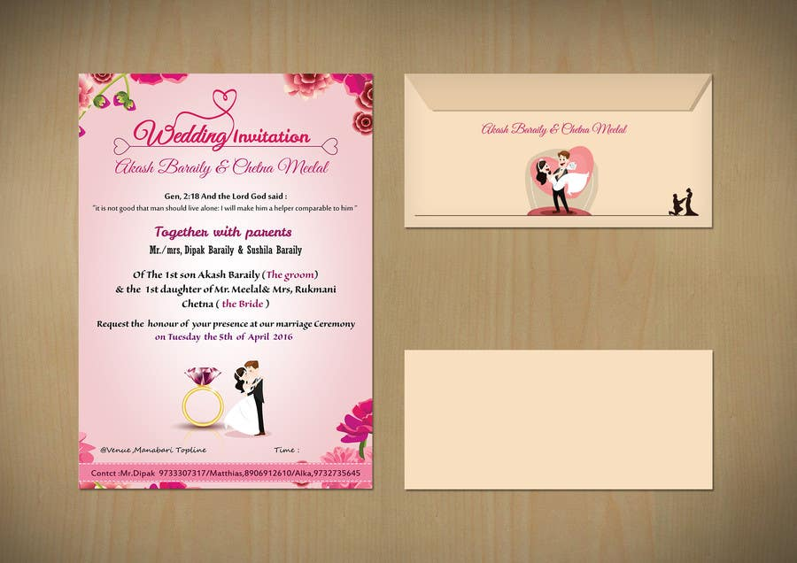 Entry 2 By Hsniper63 For Create A Wedding Invitation Card