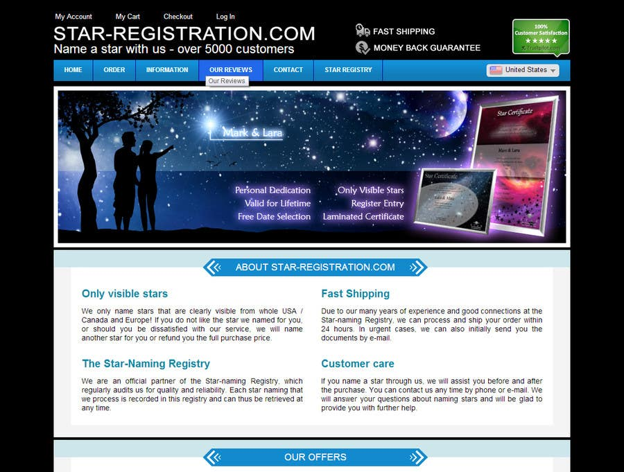 Proposition n°34 du concours Design a banner for a star naming website