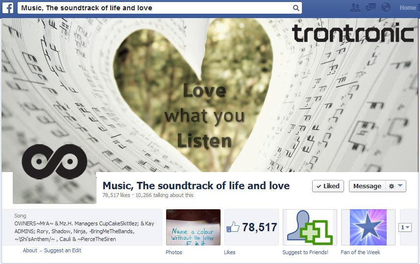 Kilpailutyö #40 kilpailussa Design of a Header Image for a Facebook Fansite of a Record Label