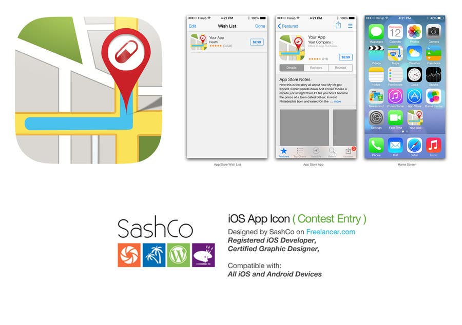 Proposition n°39 du concours App icon design for location based service