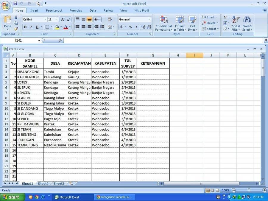 Inscrição nº 44 do Concurso para Mengisikan sebuah Lembar Kerja dengan Data