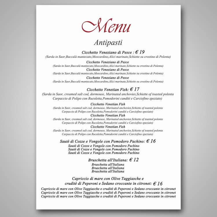 Restaurant fine dining menu template design freelancer for Fine dining menu template free