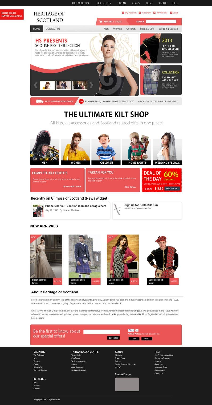 Konkurrenceindlæg #8 for HeritageOfScotland.com - online store graphic design. Functional mockup is ready. Probable job offer for three best designers.