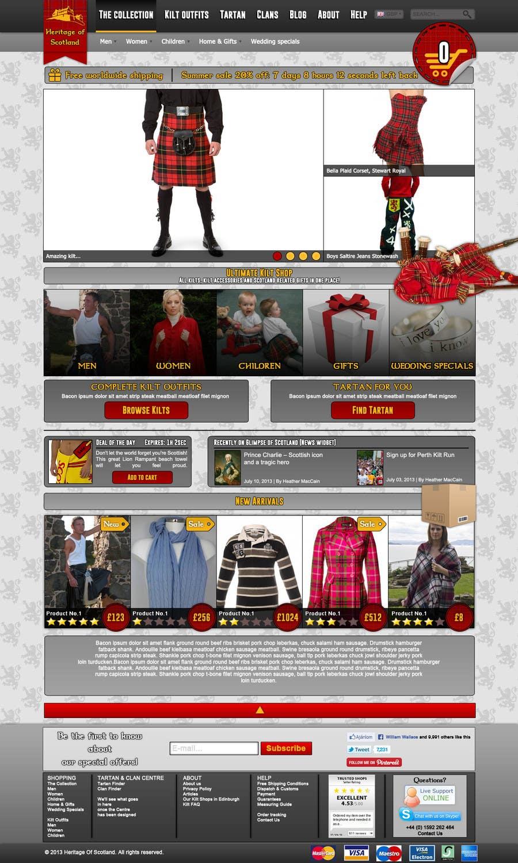 Konkurrenceindlæg #7 for HeritageOfScotland.com - online store graphic design. Functional mockup is ready. Probable job offer for three best designers.