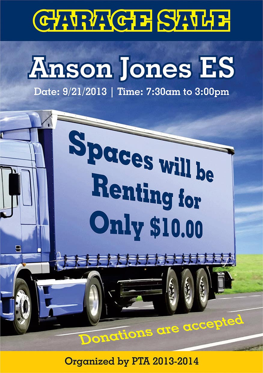 "#4 for Design an Advertisement for Anson Jones ES ""Garage Sale"" by linokvarghese"