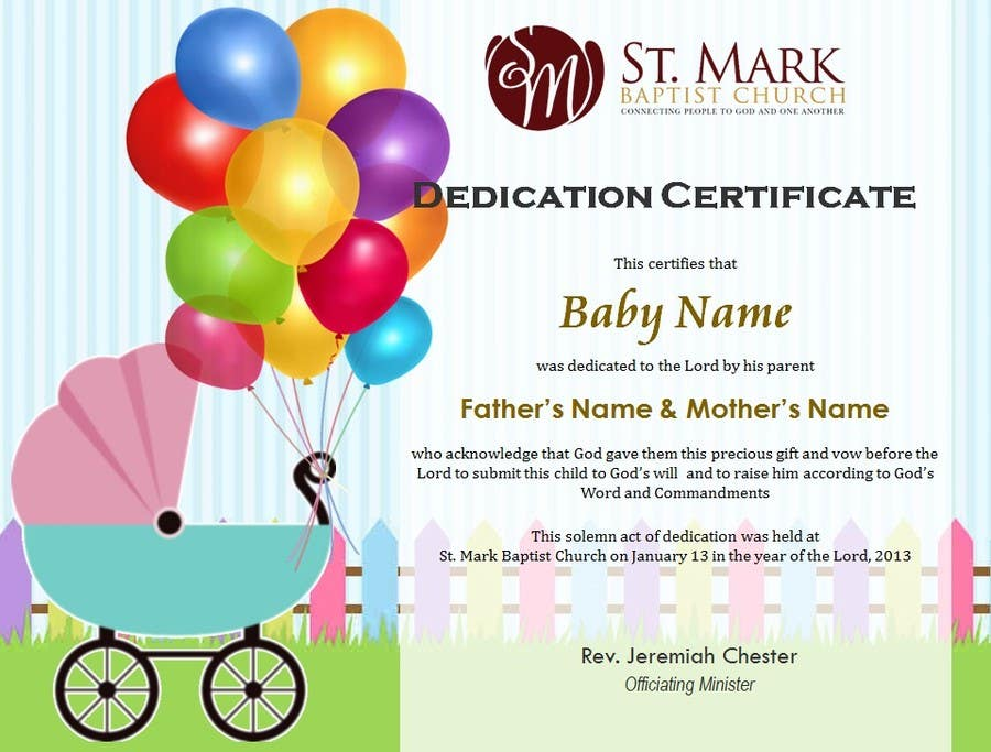 Entry  By Margeletteb For Baby Dedication Certificate  Freelancer