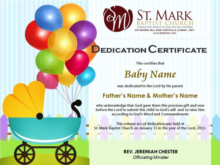 Nice Contest Entry #21 For Baby Dedication Certificate