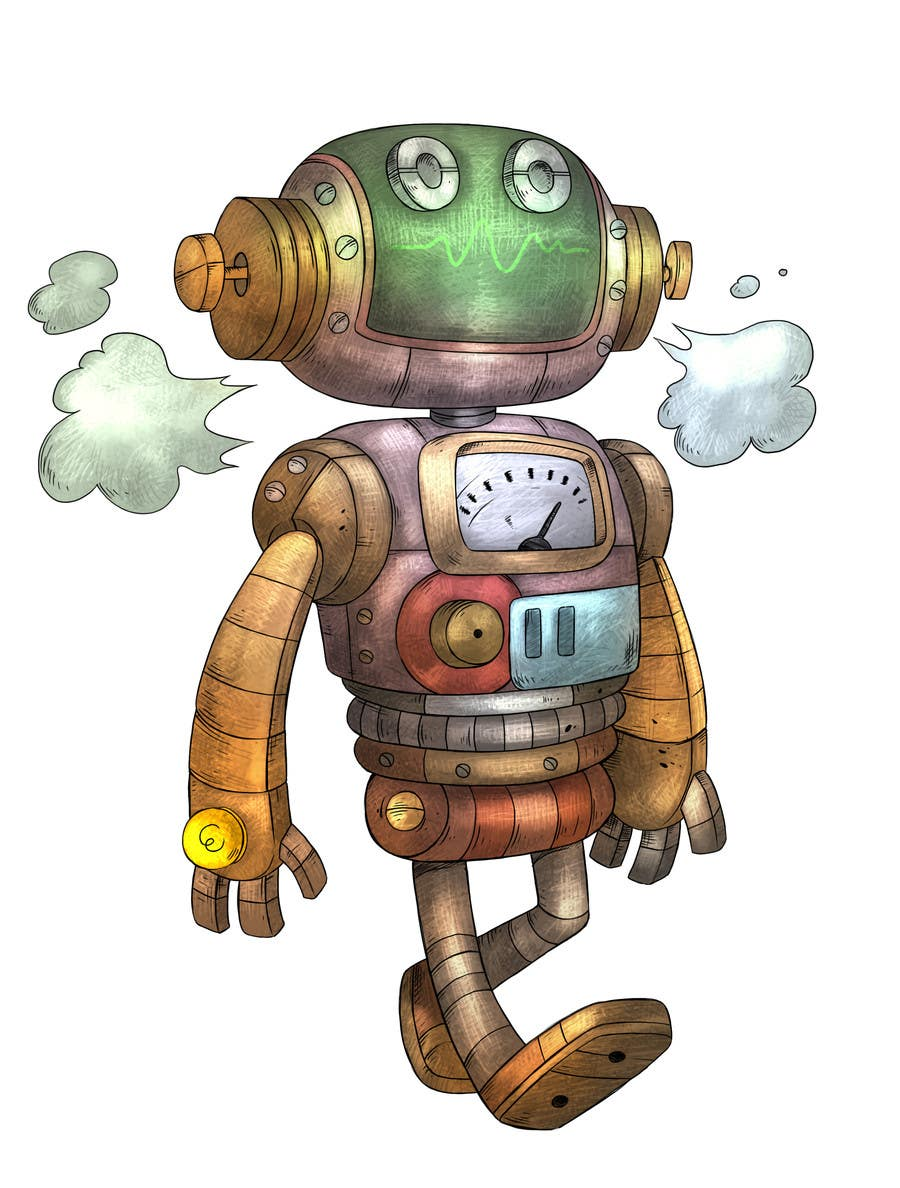 Cartoon Characters As Robots : Steampunk robot cartoon character illustration freelancer