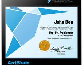 #26 for Design Freelancer.com's new Achievement Certificate by Kusmin