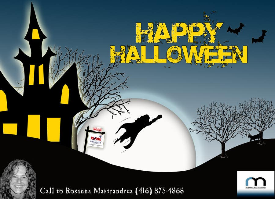 #21 for Design a Halloween postcard for a real estate agent by AdrianaKamura