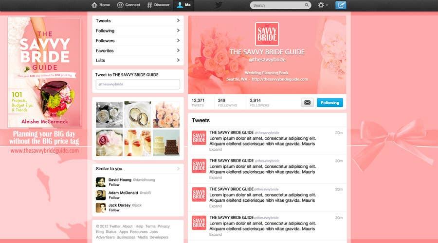 Kilpailutyö #8 kilpailussa Design a Twitter background for a wedding eBook