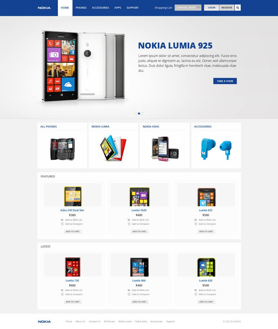 #35 for Design a Website Mockup for Nokia Online Shop - repost by Pavithranmm