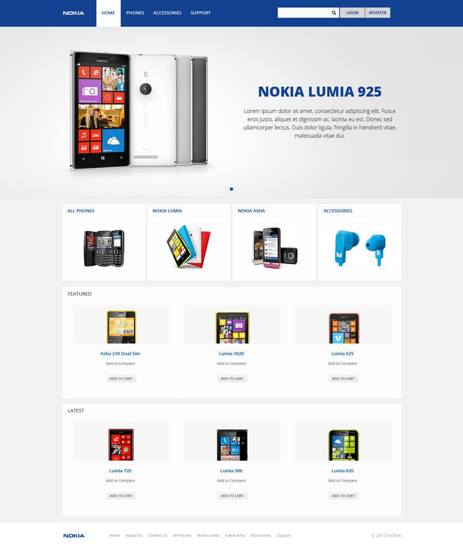#84 for Design a Website Mockup for Nokia Online Shop - repost by Pavithranmm
