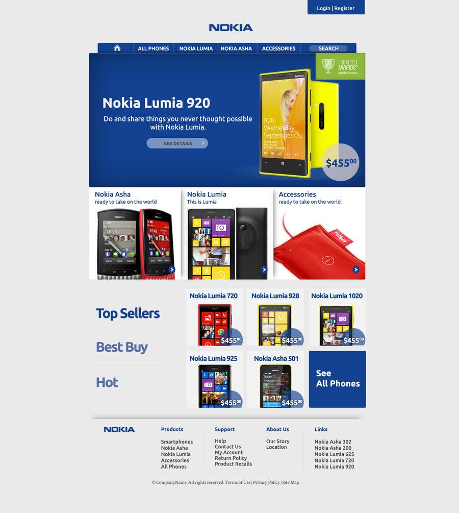 #82 for Design a Website Mockup for Nokia Online Shop - repost by CreativeWebLab