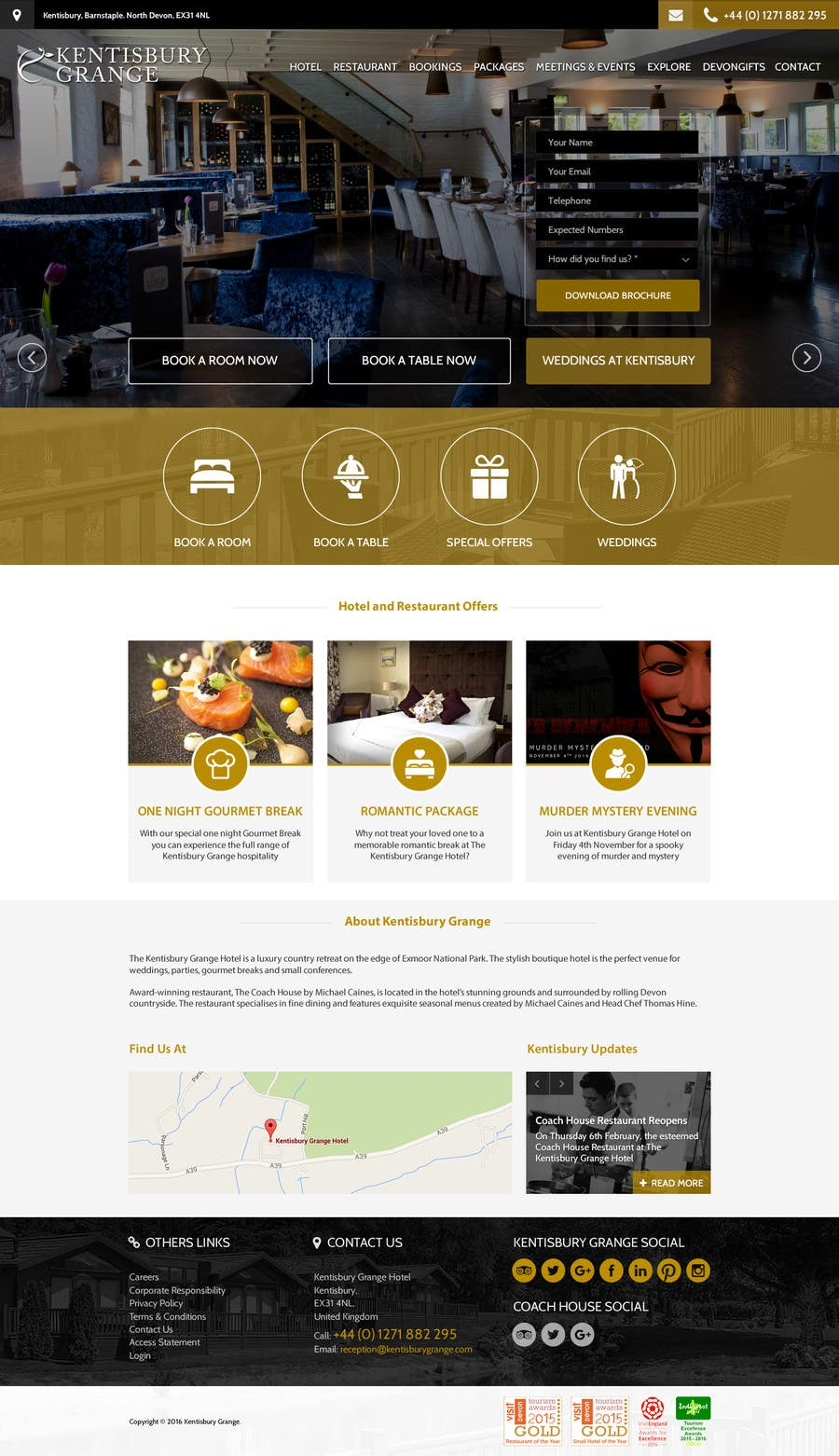 Design a website mockup for a luxury brand boutique hotel for Hotel luxury website