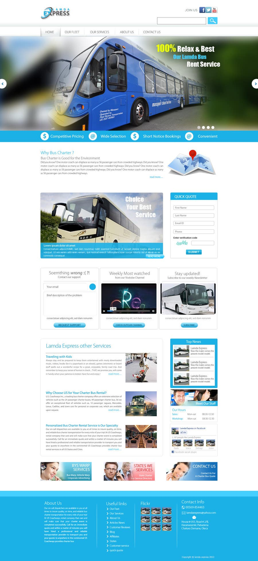 Entry 9 By Conceptcit For Design A Website And Inside Pages Mockup And Logo For Bus Rental Company Freelancer