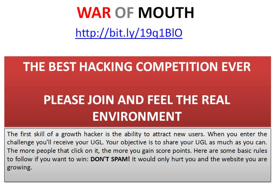 #10 for WOM - Prove your growth hacking skills (2nd place) by vw8025598vw