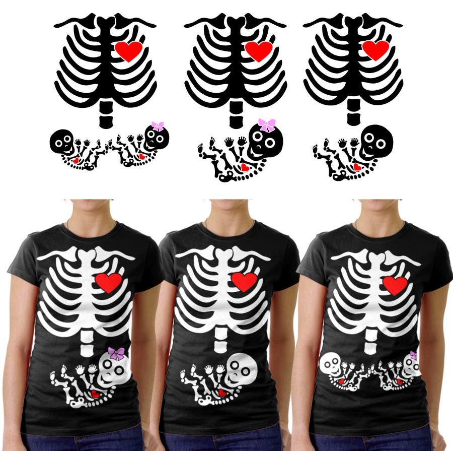#1 for Pregnant Skeleton T-shirt Design by marscortejo