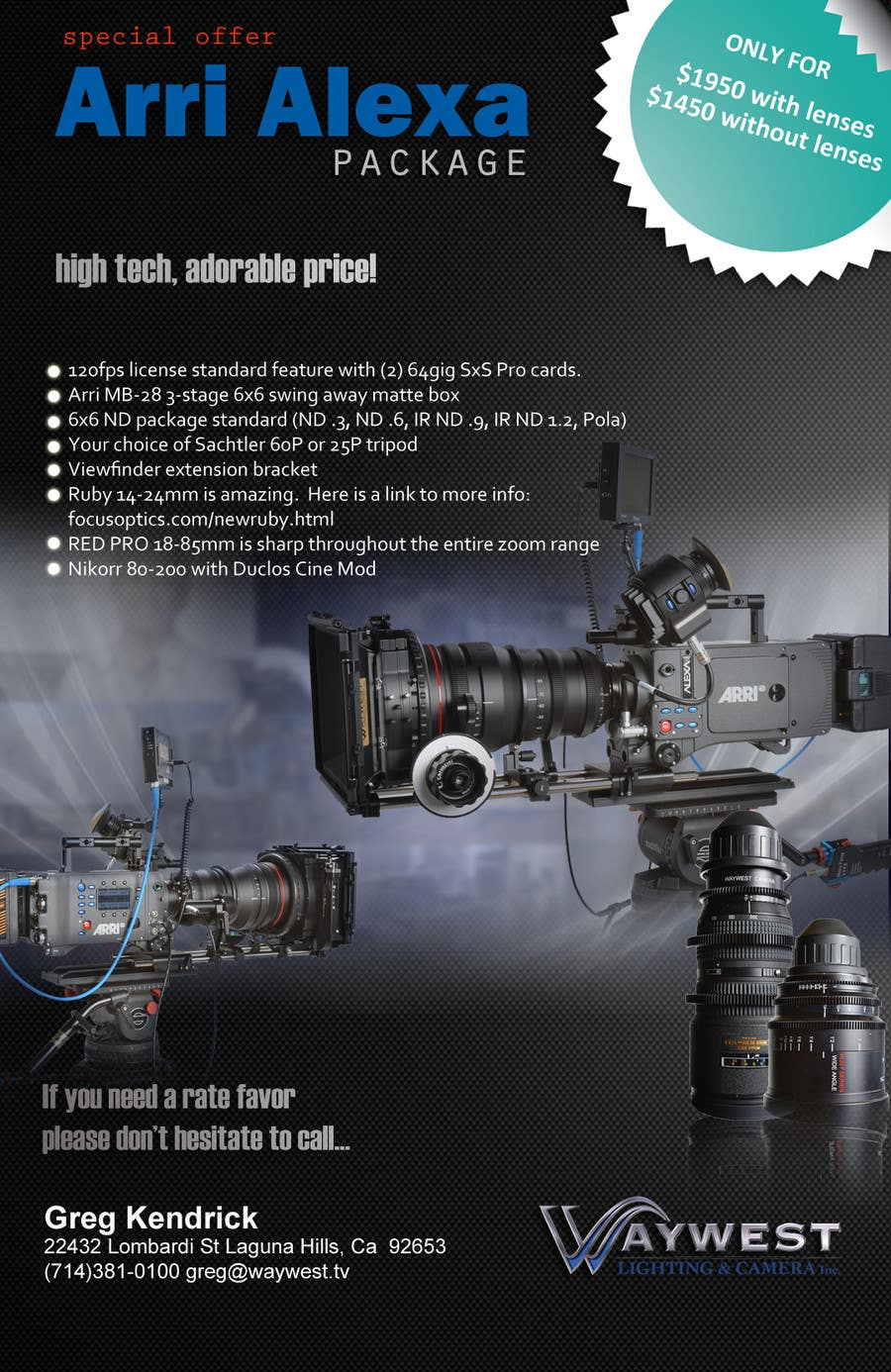 Contest Entry #                                        21                                      for                                         Sales Email Brochure Design for Waywest Lighting & Camera Inc.