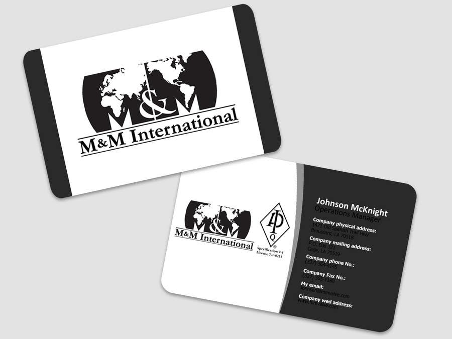Kilpailutyö #128 kilpailussa Business Card Design for M&M International