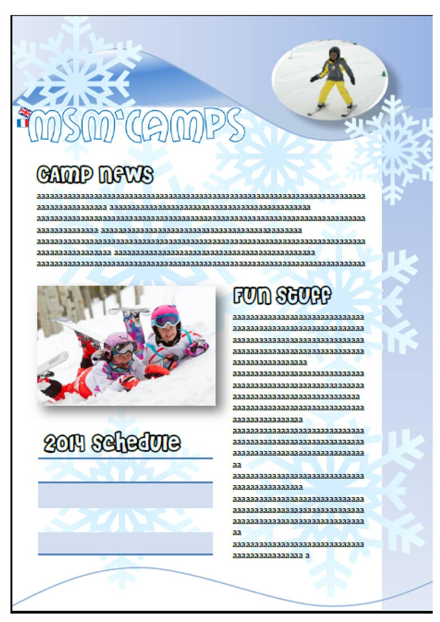 Konkurrenceindlæg #3 for Design a Brochure for kids ski camps,husky outings and christmas present ideas