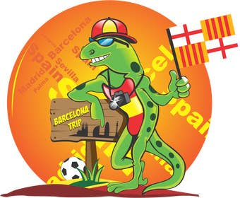 Graphic Design Contest Entry #6 for Barcelona Trip Website Logo with a Character Mascot (read carefully my requirements)