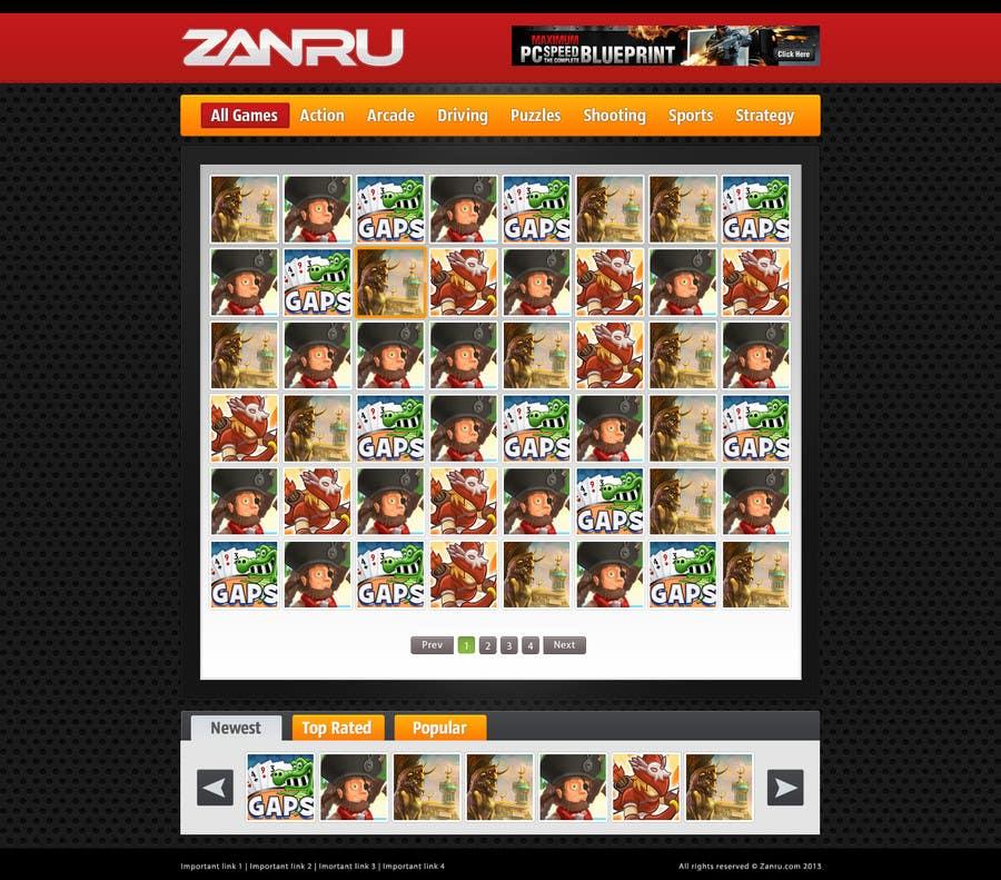 #17 for Design a Mockup for an Online Flash Game Website - Zanru.com by Oskars89