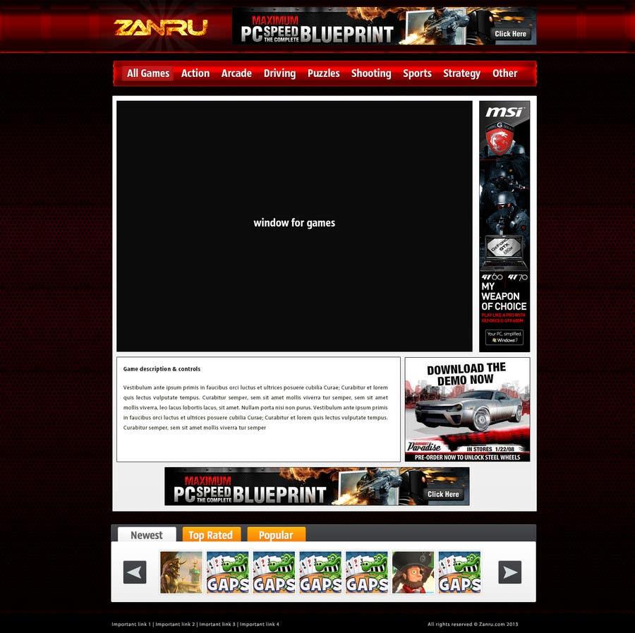 #35 for Design a Mockup for an Online Flash Game Website - Zanru.com by Oskars89